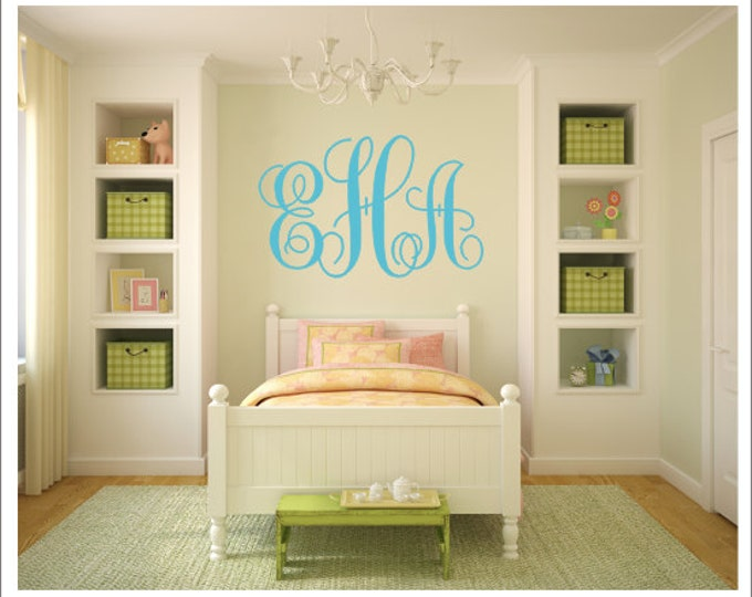 Monogram Vinyl Decal Large Monogram Decal Vinyl Wall Decal Vinyl Monogram Preppy Southern Nursery Monogram Bedroom Monogram