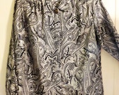 Vintage 1980's Black and Silver Shimmer Paisley Ladies Blouse by Notations