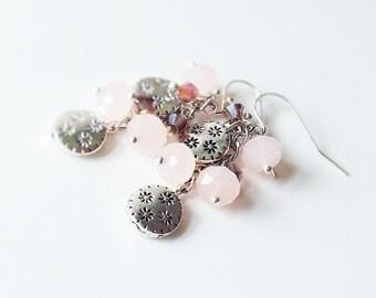 Rose Quartz Earrings, Pink Dangle Earrings, Blush Pink Earring, Spring Fashion Jewelry, Cluster Earrings, Quartz Stone Earrings