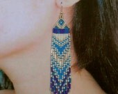 Native American Beaded Earrings, Beaded jewelry--Long, Blue, White and Silver Indian Seed Bead Earrings
