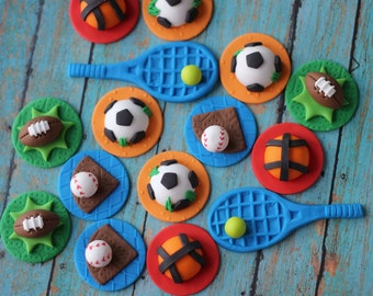 Fondant Cupcake Toppers - Sports-Themed Fondant Cupcake Toppers - Perfect for Cupcakes, Cookies and Other Edibles