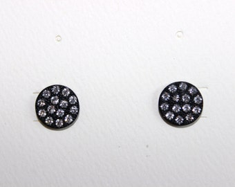 Black Plated Round Crystal Post Pierced Earrings