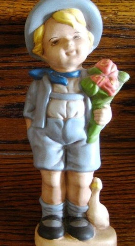 Ready To Paint Hummel Like Figurine Boy Amp Flowers Goose Hummel