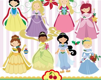 Holiday Princess digital clip art set-Christmas digital clipart -Personal and Commercial Use