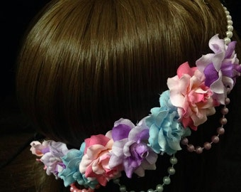 Pre-Order Pastel Pink, Blue, Purple Rose Pearl Band Goddess Flower Crown Headband Baby