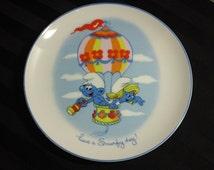 Vintage 1982 Peyo Smurf Ceramic Collectibles Porcelain Plate
