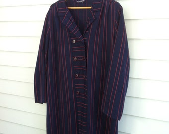 Vintage Plus Size Navy Blue Dress, Long Sleeve XL XXL Vintage Dress, Vintage Red Striped Dress 50-50-56+
