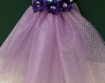 """Dollhouse Miniature Party Dress """"Shimmer"""", Scale One Inch"""