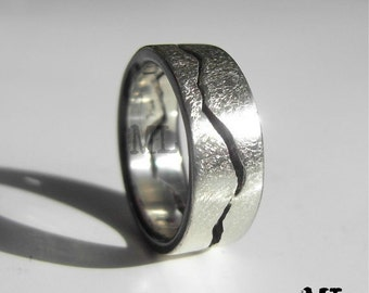 Storm Mountain Ring, 8mm band, Mountain Wedding, Handmade from Recycled Silver, Gold, Palladium & Platinum