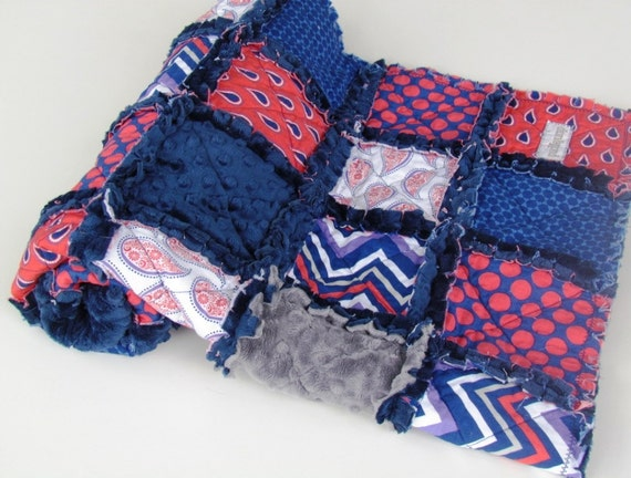 Baby Rag Quilt, Paisley Please Rag Quilt with Navy Minky