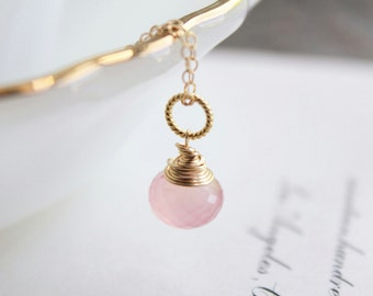 clarissa. necklace. (soft rose pink chalcedony. onion briolette gemstone. 14k gold. jewelry. made to order)