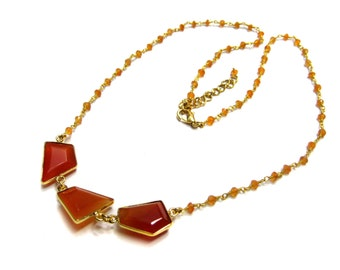 Beautiful Gold Plated Bezelled Carnelian Gemstone Necklace , Canelian Bezel connectors fancy shape ,21 inches long beaded chain necklaces