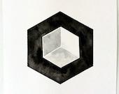 Hexagon 3D Cube Geometric Art, Geometric Painting, Hexagon art #geometric. #etsy. #hexagon. #blackandwhite. #3D #prettyinc #cube
