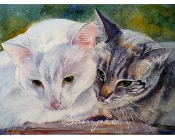 11x14 Cat Portrait Custom Painting from Your Photos in Watercolor or Oil byJanet Zeh