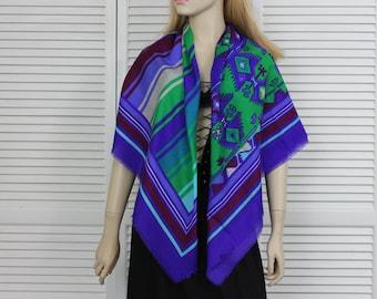 Vintage Large Scarf/Shawl Southwestern Aztec Design by Glentex Japan
