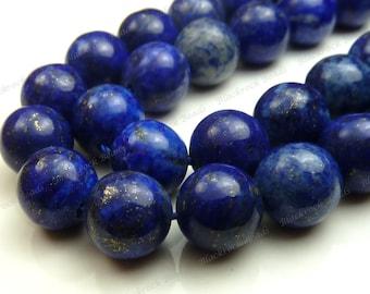 6mm Lapis Lazuli Round Natural Gemstone Beads - 15.5 Inch Strand - Dark Blue, Pyrite Flecks - BE34