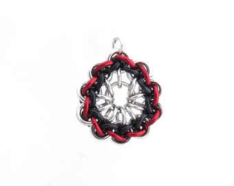 Chain Mail Pendant, Red and Black Jump Ring Jewelry, Multicolor Pendant, Chain Mail Jewelry