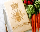 Wooden cutting board with engraved Queen Bee in crown. French Country home decor. Solid maple wood.