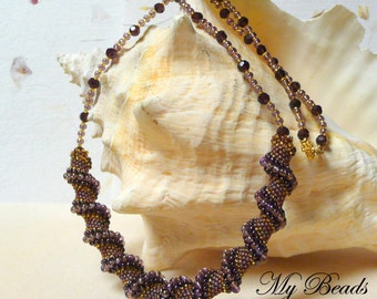 Cellini Spiral Necklace, Spiral Necklace, Statement Necklace, Cellini Rope, Beadwoven Necklace, Seed Bead Necklace, Beaded Spiral, OOAK