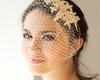 Lace birdcage veil in light beige or ivory, full birdcage veil with lace, Wedding Veil