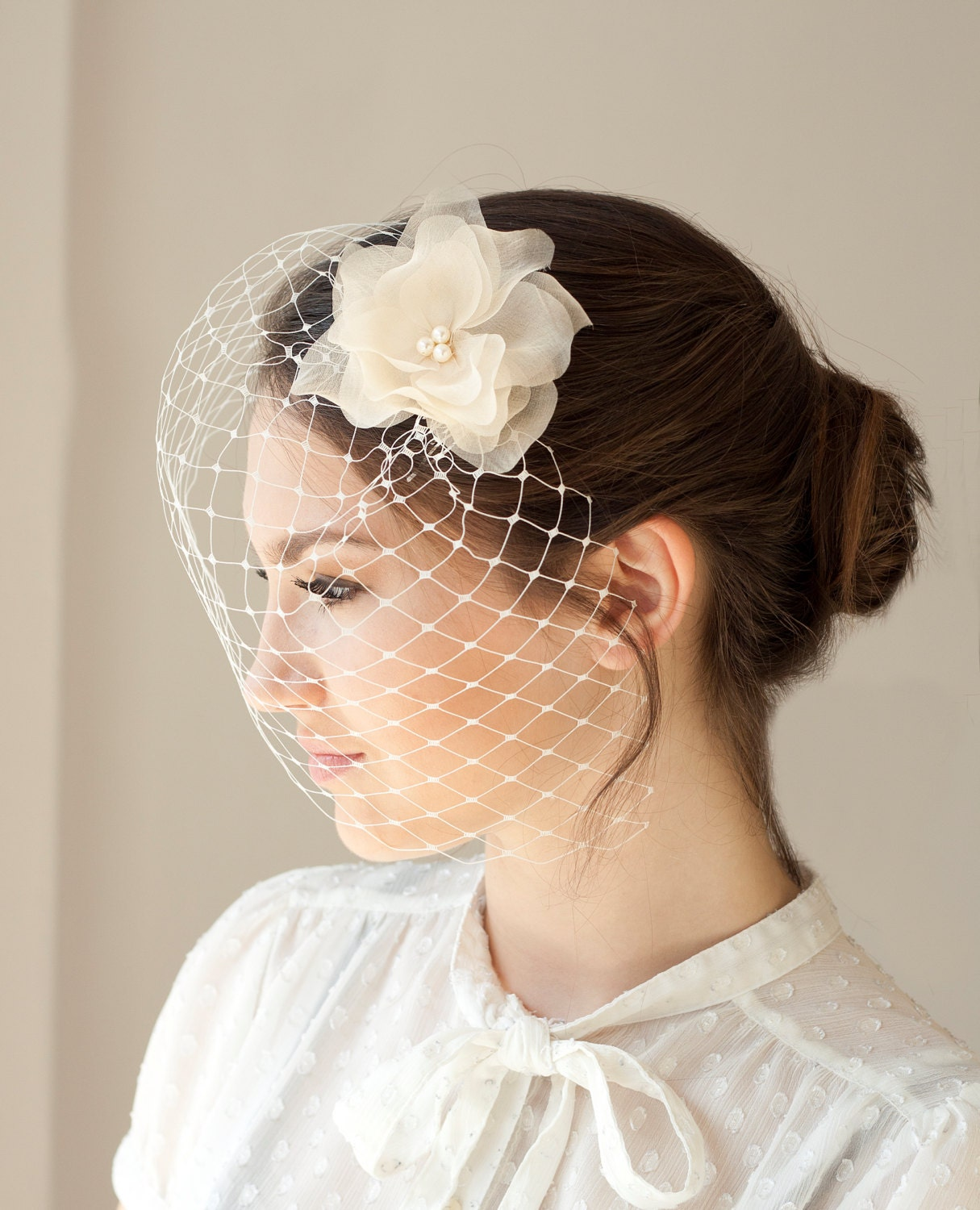 Headpieces For Wedding Veils: Bridal Veil With Silk Flower Wedding By BeChicAccessories