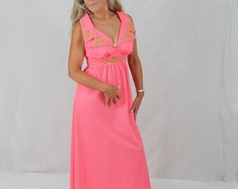 70s Maxi Dress / Hippie / Boho / Halter / Sundress / Hot Coral Pink / Beaded