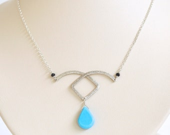 Turquoise Necklace- Sterling Silver Necklace- Turquoise Blue Necklace- Turquoise Pendant Necklace- Raindrop Necklace- December Birthstone