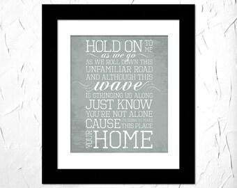 Phillip Phillips - Home Lyrics. Inspirational Lyrics Song. Subway Art. Unframed