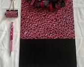 Pink and Black Leopard Print Clipboard Set