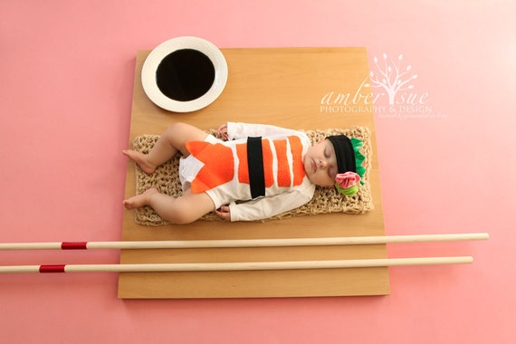Sushi Baby Costume, with Headband, Baby Halloween Costume, Long or Short Sleeve Sushi Costume