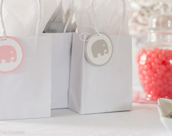 Baby Shower Decoration Elephant Tags Pink Gray, Elephant Baby Shower, Elephant favor Tags
