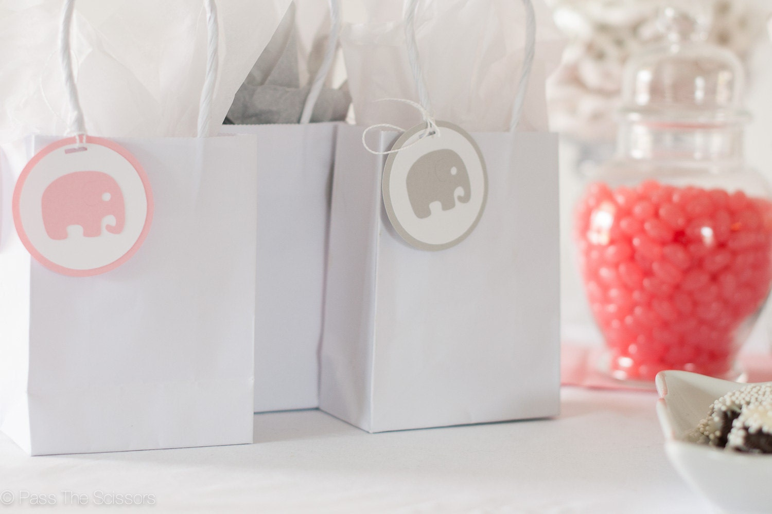 baby shower decoration elephant tags pink gray elephant baby