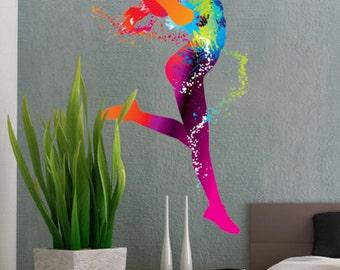 Colorful Dancing Ballet Girl Dance - Full Color Wall Decal Vinyl Decor Art Sticker Removable Mural Modern B140