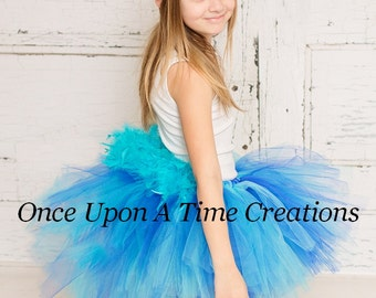 Ready To Ship Hyacinth Macaw Feather Bustle Tutu Girls Size 3 6 9 12 Months 2T 3T 4T 5T 6 7 8 10 12 Adult Blue Bird Halloween Costume Skirt