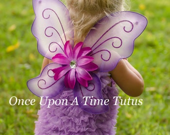 Lavender & Purple Fairy Wings -- Dress Up or Birthday Party Favor Accessory - Little Girls Butterfly Costume - Fairy Halloween Costume