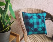 Appliqued Decorative Pillow Cover, Black and Green Checkered