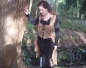 MADE TO ORDER : Brown linen pagan Avalon bustle, waistcoat, skirt, riding suit, steampunk historical priestess fairy witch
