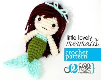 Mermaid Crochet Pattern - Instant Download - Little Lovely Mermaid - amigurumi CROCHET PATTERN ONLY
