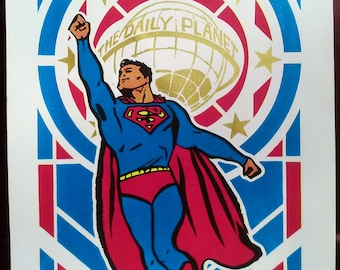 Superman Pop Art Deco hand-pulled silkscreen print