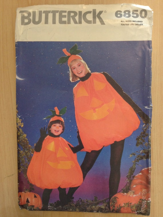 Butterick Pattern 6850 Childrens and Misses Pumpkin Costume L