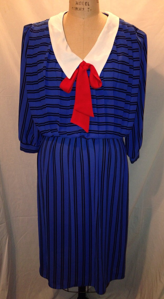 Vintage 80s Nautical Style Dress by Alexis Fashions Size 13/14 Sale d52