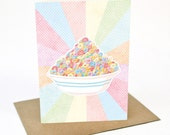 Loopy Fruits - cereal bowl -  Greeting card