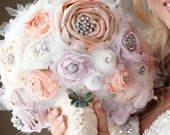 Custom Shabby Chic Bouquet, Flower Wedding Bouquet, Brooch Bouquet, Roses with rhinestone brooches and pearl beads, Boho Bridal Bouquet.