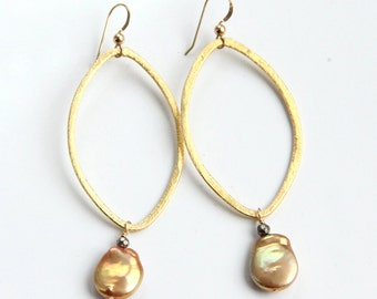 Gold Pearl Hoop Earrings, Coin Pearl, Pyrite, Vermeil, Brushed Gold, Statement Earrings