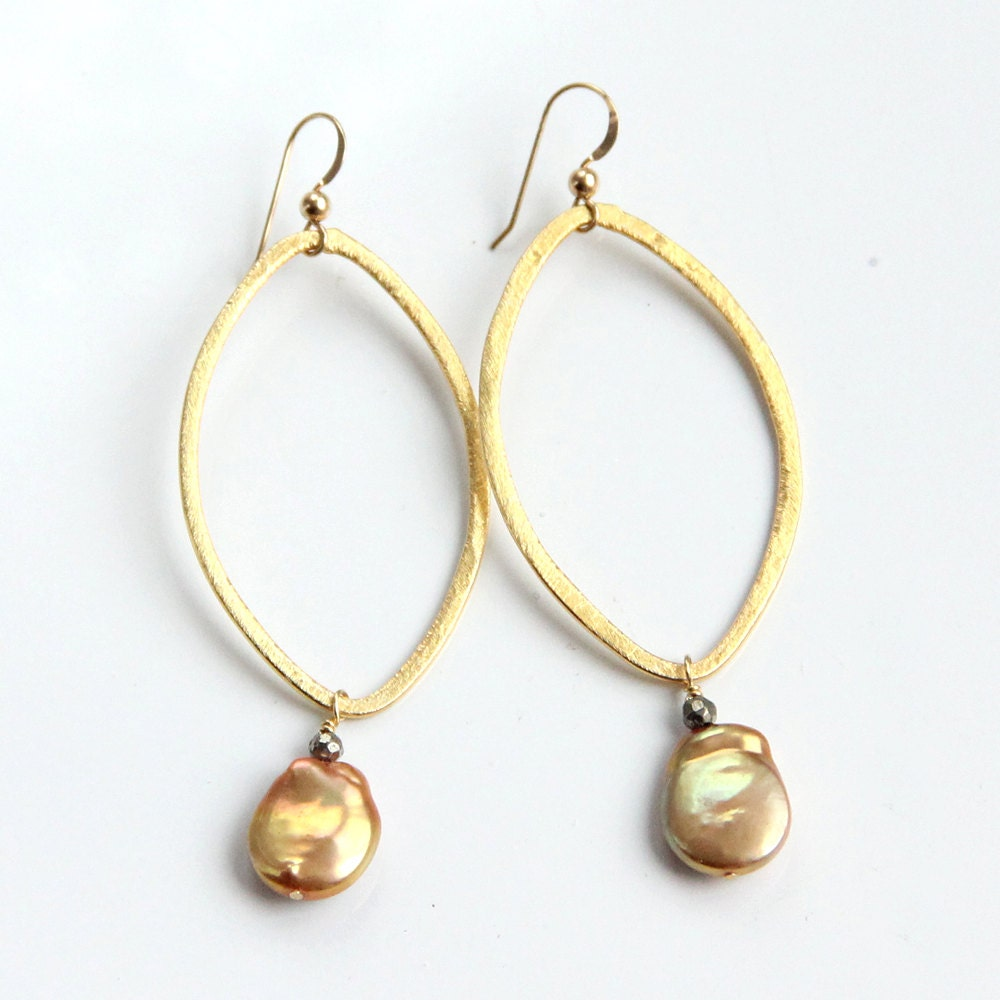 gold pearl hoop earrings coin pearl pyrite vermeil brushed