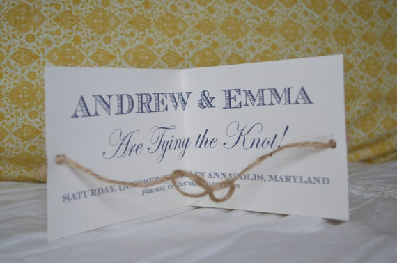 tie the knot save the date card actually tying the by