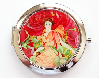 Compact mirror, Pocket Mirror, mirror, purse mirror, Rose Mirror, Red, Pink, Orange, Gift for her, Mirror for purse (3783)