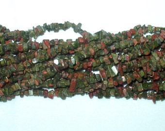 "Unakite Chip Gemstone Bead - 34"" Strand"