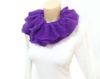 Ruffle scarf, Knitted Lariat Scarf, Lariat Necklace, Purple, Lariat shawl, Knitted scarf,  Mothers day scarf