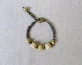 SALE 40% OFF - Labradorite Bracelet, Yellow Jasper Bracelet, Gemstone Bracelet, Chunky Bracelet